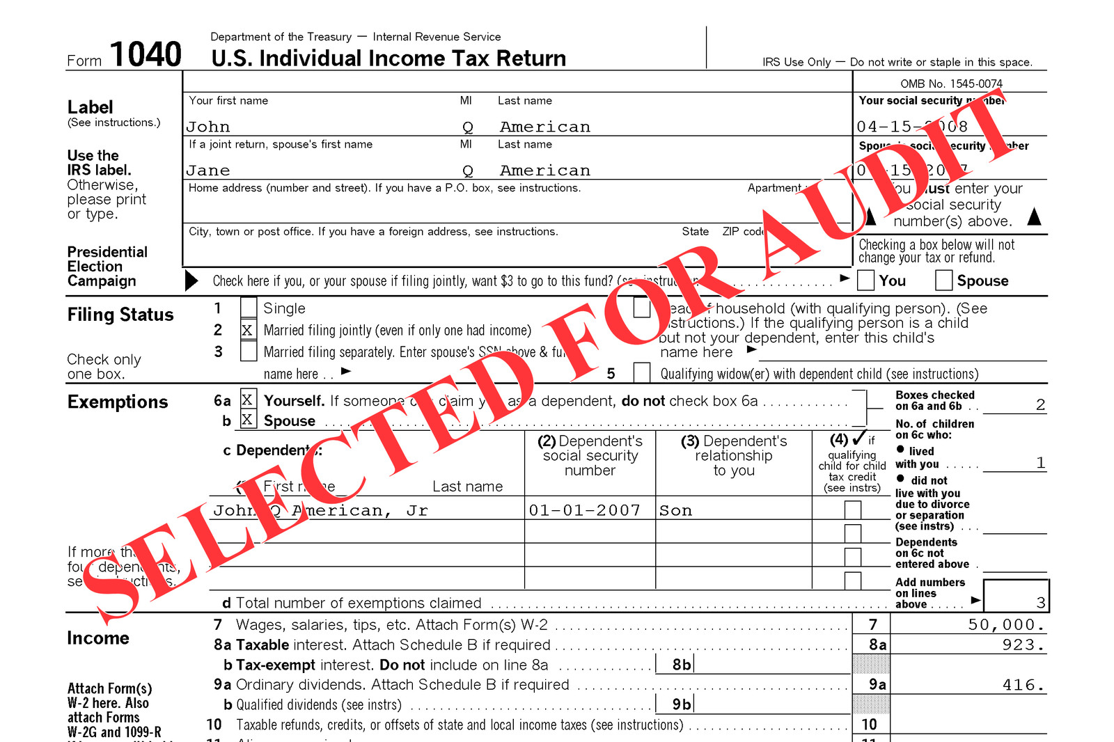 Business tax: example of business tax return.